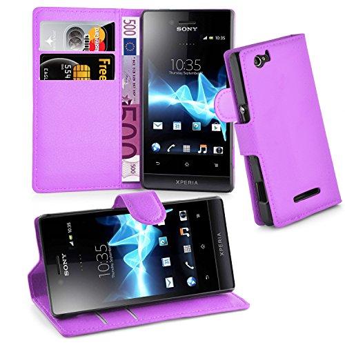Cadorabo Hülle für Sony Xperia M - Hülle in Mangan VIOLETT – Handyhülle mit Kartenfach & Standfunktion - Case Cover Schutzhülle Etui Tasche Book Klapp Style