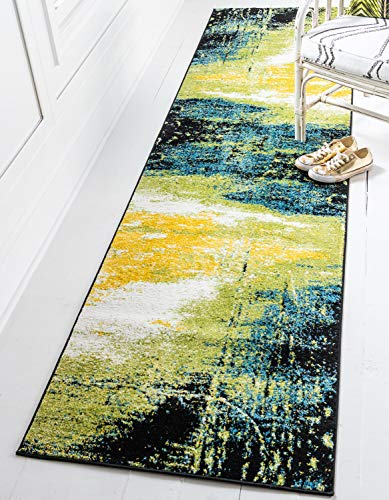 "Unique Loom Lyon Modern Abstract Area Rug_LYN020, 2 Feet 7 Inch x 10 Feet, Light Green/Blue - Pile: Polypropylene - Backing: Cotton - Weave: Machine Made (Power-Loomed) - Made in: Turkey Size in FT: 2' 7 x 10' 0 - Size in CM: 80x305 - Pile Height And Thickness: 1/2"" - Colors: Light Green, Blue Easy-to-clean, stain resistant, and does not shed - underlay (rug pad) recommended to prevent slipping and sliding - runner-rugs, entryway-furniture-decor, entryway-laundry-room - 51cyEoWid4L -"