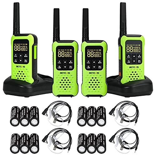 Retevis RT49P Floating Walkie Talkie, IP67 Portable Two-way Radios, Waterproof Walkie Talkies Rechargeable, NOAA, Flashlight SOS Handheld Radios with Headset for Golf, Fishing, Hunting(4 Pack)