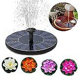 Apofly Solar Springbrunnen, 1.5W Schwimmende Sonnenwasserpumpe mit 6 Düsen Outdoor Solarbrunnen für Garten DEKO Birdbaden, Teiche mit 4 Wasserlilie Lotus-Schaumblume