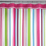 multicolor rainbow bright hot pink and green girly striped shower curtain