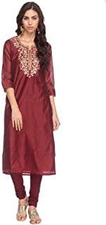 STOP Womens Notched Collar Embroidered Kurta And Churidar Set