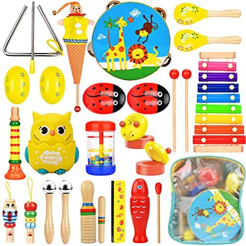 Wesimplelife Musikinstrumente Set für Kinder ab 3 Jahre Spielzeug Schlagzeug Kinder Schlaginstrument aus Holz Percussion Set Xylophon Rhythm Toys Werkzeuge Kinderspielzeug Früherziehung Musik