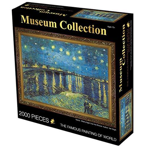 Gioco di Puzzle Classico Notte stellata sul Rodano di Van Gogh 2000 Piece Jigsaw Puzzle for adulti i bambini scherza 27.56 x 39.37 pollici Robusto e facile