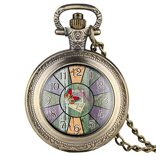 Zarte römische Ziffern Stempel Zifferblatt Muster Patch Quarz Taschenuhr für Männer Klassische Bronze Taschenuhren für Jungen Dünne Kette Anhänger Uhr für Frauen