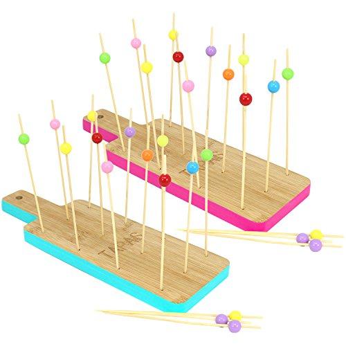 com-four® 32-teiliges Tapas Set aus Holz, Servierbretter und Holzspieße für Snacks, Fingerfood, Anti-pasti, Tapas, Käse, Obst und mehr (32-teilig - Eckig pink/blau)
