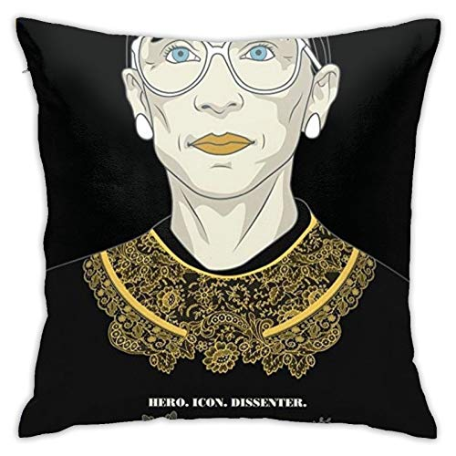 3D Print Ruth Bader Ginsburg Fight for Justice Pillowcase, Hypoallergenic, Square Throw Cushion Case with Hidden Zipper, Extra Soft Pillow Case for Room Decor, Sofa, Bed, Chair