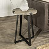 Walker Edison Furniture Rustic Farmhouse Round Metal Side End Accent Table Living Room, 18 Inch, Grey