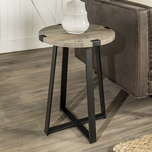 Eden Bridge Designs Industrial Urban Round Side/Beside Table, legs and Laminate Top for Living Room Home Office Bedroom, Wood and Metal/Grey Wash, One Size
