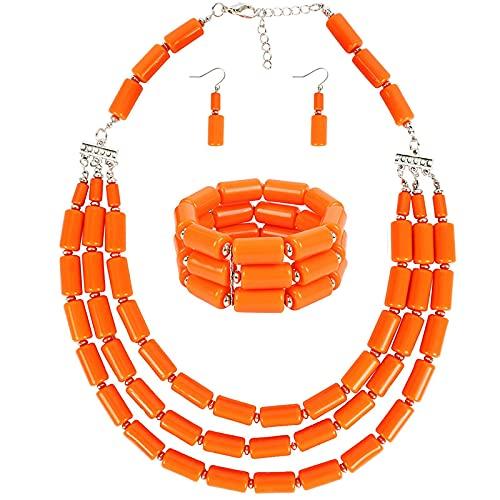 HMANE Conjuntos de Joyas Indias de Boda Collar de Cuentas de Babero Conjuntos de Pulseras y Pendientes Collar Conjunto de Joyas de Cuentas africanas