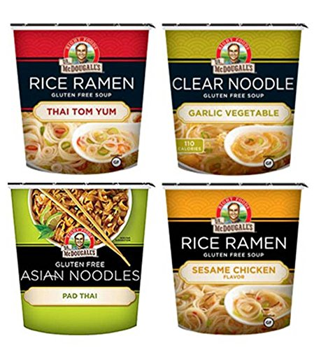 Dr. McDougall's Gluten Free Asian Noodle Cups 4 Flavor Variety Bundle, 1 Ea: Thai Tom Yum, Garlic Vegetable, Pad Thai, and Sesame Chicken, 1.1-2 Oz.
