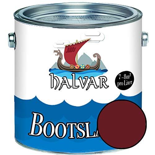 Halvar Bootslack Rot RAL 3000-3031 Yachtlack GLÄNZEND Bootsfarbe Yachtfarbe PU-verstärkt für Holz & Metall verstärkt extrem belastbar hochelastisch Schiffslackierung (2,5 L, RAL 3005 Weinrot)