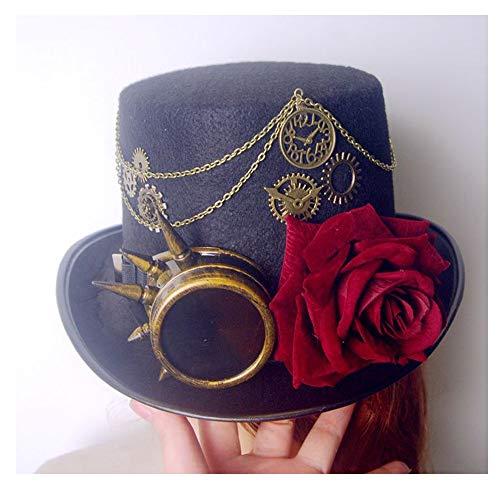 Sombrero Sombrero Retro Steampunk Negro de Mujer con Gafas de Engranaje y bombín Rosa Sombrero de Cosplay Sombrero de Copa Tamaño 57 cm WWTLKJ (Color : Negro, Size : 57cm)