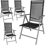 TecTake Aluminium Klappstuhl Gartenstuhl Set verstellbar mit Armlehnen - Diverse Farben und Mengen (Silber | 4er Set | Nr. 401632)