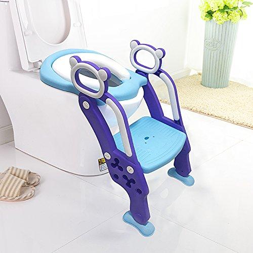 LADUO Riduttore per WC per bambini con scaletta antiscivolo, regolabile