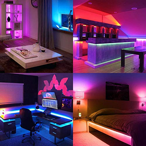 LED Strip Lights, YORMICK 32.8 feet Waterproof Flexible Tape Lights Color Changing 5050 RGB 300 LEDs Light Strips Kit with 44 Keys IR Remote Controller and 12V Power Adaptor for Home, Bedroom, Kitchen 5