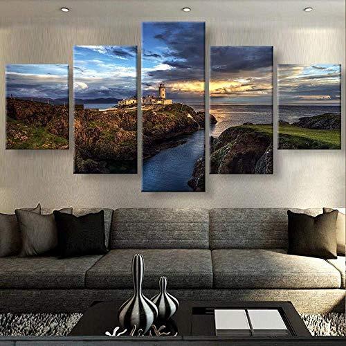 SBZJJ 5 Pannelli a Parete HD 5 Pezzi Irlanda Ripido Faro sulla scogliera Tramonto Paesaggio Marino Immagine Paesaggio su Tela Wall Art Home Decor per Soggiorno Pittura-12X16inch,12X24inch,12X32inch