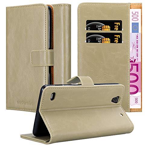 Cadorabo Hülle für Sony Xperia C4 in Cappuccino BRAUN – Handyhülle mit Magnetverschluss, Standfunktion & Kartenfach – Hülle Cover Schutzhülle Etui Tasche Book Klapp Style