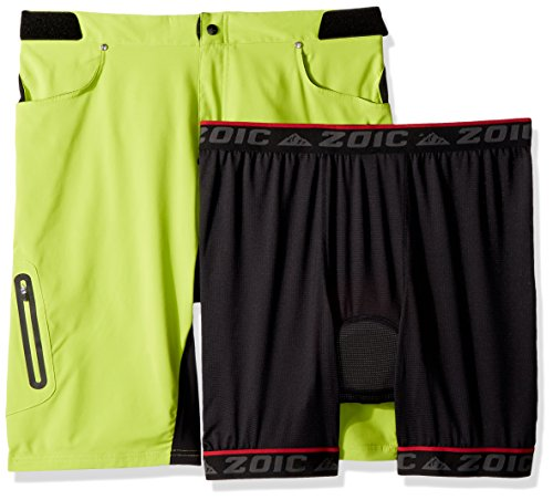 Zoic Men's Ether Mountain Bike MTB Cycle Riding Short with Padded Essential Liner Relaxed Fit 12 inch Inseam, UPF 50+, Atomic, size Medium