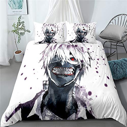 YOMOCO Tokyo Ghoul - Juego de funda nórdica y 2 fundas de almohada (A04,140 x 210 cm + 80 x 80 cm x 2)