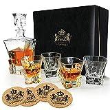 YKing Whiskey-Dekanter-Set in Premium-Geschenkbox mit 4 Gläsern und 4 Untersetzern - Whiskey Brandy Tequila Bourbon Scotch Rum Wodka Dekanter Set mit Gläsern - Glaskaraffe