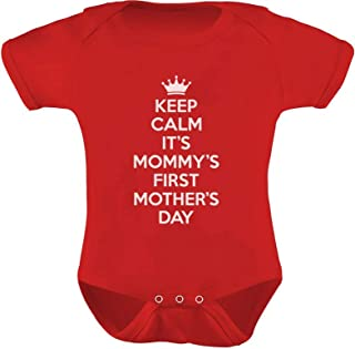 Sponsored Ad - Mothers Day Outfit Keep Calm It's Mommy's First Mother's Day Baby Bodysuit