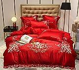 juegos de sábanas de 90,60 Lavado de agua de algodón Seda Bordado Seda de cuatro piezas, edredón de bordado de bodas se establece una camisa de doble cama individual, usada en habitación de dormitori