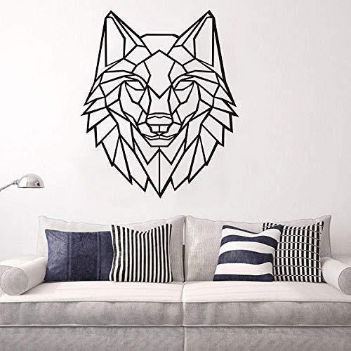 LSDAEER Geometrische Origami Wolf Kopf Wandaufkleber Schlafzimmer Wohnzimmer Wand Hintergrund Dekoration Aufkleber Abnehmbare Pvc Aufkleber Wand Deko Für Wandsticker Wandtattoo