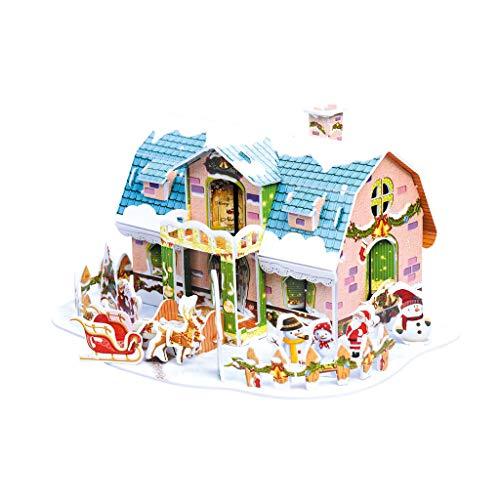 Dasongff Puzzle 3D decorativo de Navidad, casita de hielo, copo de nieve, casa, modelo de edificio, kit de casa de muñecas DIY regalo y recuerdo para adultos y niños