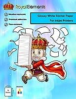 Royal Elements 防水印刷可能なビニールステッカーペーパー インクジェットプリンター用 - 10枚 - 光沢ホワイト