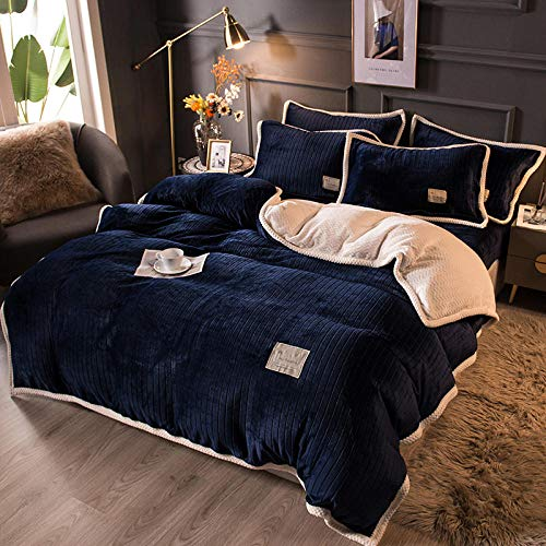 Shinon teddy fleece duvet set double teal,Winter double-sided plus velvet thick flannel duvet cover single double bed king size bedding-E_1.8m bed (4 pieces)