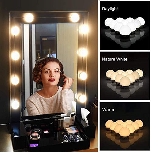 Luces LED para Espejo de Maquillaje, Sendowtek Kit de 10 Bombillas LED Luz de Espejo de Tocador Estilo…