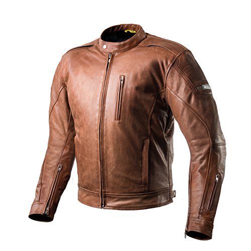 Shima HUNTER PLUS 2018 BROWN, Belüftet Herren Leder Motorradjacken Rückenprotektor Vintage Retro Sommer 2018 (S-3XL), Braun, M