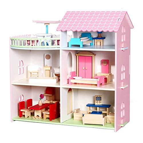 LZZB Casa de muñecas Casa de muñecas Juguete Casa Familiar Muebles Casa de Campo Uptown Casa de muñecas Casa de muñecas Casa de Juegos Casa de Juegos Casas (Color: Rosa, Tamaño: 46x46x22.5cm)