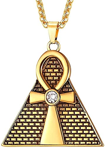 Collar Pirámide Antigua Ankh Colgante De Cruz Egipcia Y Collar De Cadena Amp Amp Hombres/Mujeres Collares De Diamantes De Imitación De Acero Inoxidable Joyería