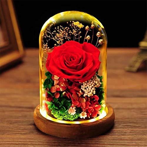 プリザーブドフラワー 母の日 ガラスドーム プレゼント ケース入り 薔薇 ドライフラワー LEDライト付き バラー 枯れない花 フラワーギフト ギフトボックス 手提げ袋 メッセージカード 永遠の花 ギフト 女性 母 祖母 女友達 妻 記念日 誕生日プレゼン