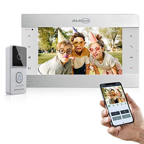 JSLBTech IP Videoportero 10'' WLAN Monitor WiFi Video Sistema Interfono,HD Cámara Timbre Puerta, Control Conversación/Monitoreo/Visión Nocturna/Remoto Control Aplicación para iOS&Android