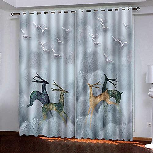 pgjremd Cortinas Opacas con Aislamiento Térmico para Dormitorio, Sala De Estar, Ciervos Saltando En El Bosque, Cortinas Opacas 230 (H) X140 (W) Cmx2 H7274