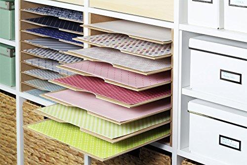 INWONA IKEA Kallax Expedit Regal Einsatz Ablage Papierfach Postfach Papier Fach Fachteiler für 9 Einzelfächer 33,5 x 33,5 x 38 cm Holz Natur MDF