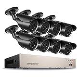 NVR CCTV Kit Videovigilancia, CCTV 2.0 MP Kit de videovigilancia, 8CH HD TVI DVR 8 x 1080p 1500TVL Cámara de Vigilancia, con visión Nocturna, detección de Movimiento, PC fácil Acceso Remoto, sin HDD
