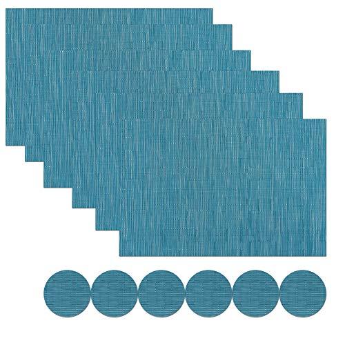 Famibay Tovagliette e Sottobicchieri Set 6 Tovagliette Americane Plastica Lavabili Sottobicchieri Blu