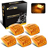 Partsam 5X Super Bright Amber Yellow 17LED Cab Marker Top Roof Lights Assembly Compatible with Kenworth/Peterbilt/Freightliner/Mack//International Paccar Semi Truck Trailer