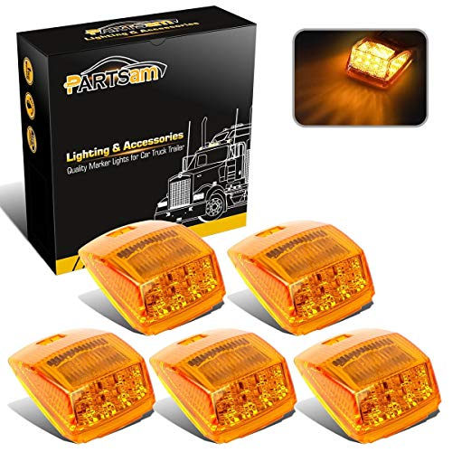 Partsam 5X Super Bright Amber Yellow 17LED Cab Marker Top Roof Lights Assembly Compatible with Kenworth/Peterbilt/Freightliner/Mack/Volvo/International Paccar Semi Truck Trailer