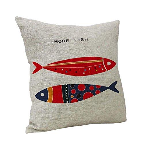 UBabamama Housse de coussin décorative pour la maison - Motif poisson - Style vintage