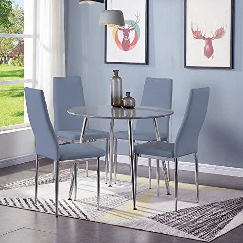 GOLDFAN ronde eettafel en stoelen Set 4 hoogglans keukentafel met hoge rug PU lederen stoelen, grijs Morden ronde eettafel stoelen Grijs