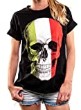MAKAYA Top Oversize Manga Corta - Skull Gotica Bandera Italia - Camiseta Calavera Mujer Negro M