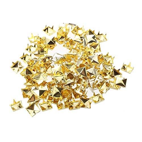 OVBBESS 100 puntas de pirámide de 8 mm de oro, punk, puntas de cabeza de clavo para bolsa de zapatos y pulsera