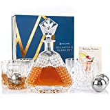 11 Piece Whiskey Decanter and Glass Set - Premium Crystal Whiskey Decanter Set with Whiskey Glasses and Stainless Steel Ice Cube – Crystal Decanter Set for Men – Liquor, Scotch or Bourbon Decanter Set