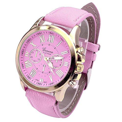 Axiba Genuine Women's Fashion Geneva Roman Numerals Faux Leather Analog Quartz Wrist Watch (Pink)