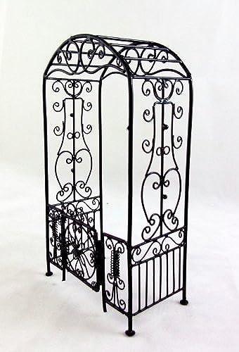 Dolls House Miniature Garden Furniture schwarz Wire Wrought Iron Arbour Arch Gates by Aztec Imports, Inc.